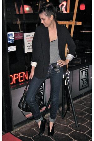 black Mossimo blazer - silver American Apparel t-shirt - blue J Brand jeans - bl