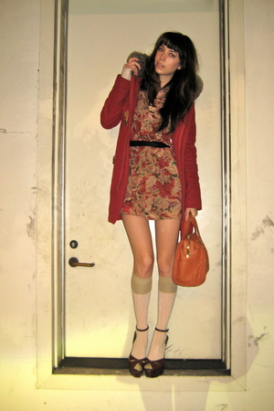 beige H&M socks - brown Barneys Co op shoes - red floral vintage dress