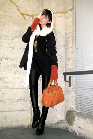black Hurley jacket - black H&M sweater - black American Apparel pants - orange