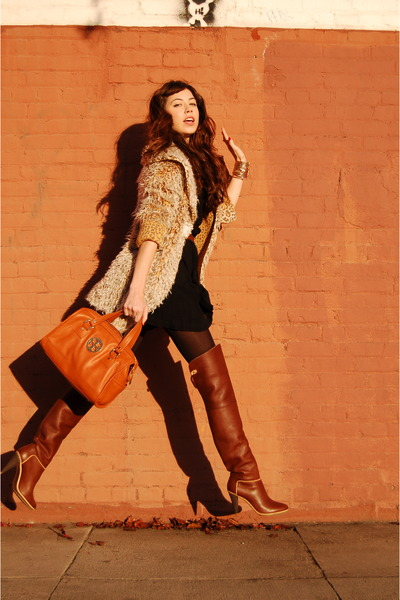 orange tory burch bag - brown Baleciaga boots - black romper vintage dress