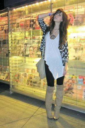 silver necklace accessories - beige vintage boots - black J Brand jeans