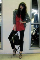black J Brand jeans - red vintage top - gray vintage cardigan - black Jimmy Choo