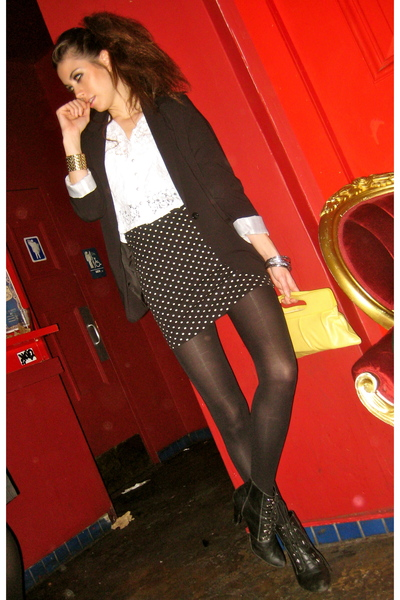 black Mossimo blazer - white Urban Outfitters top - black vintage skirt - black