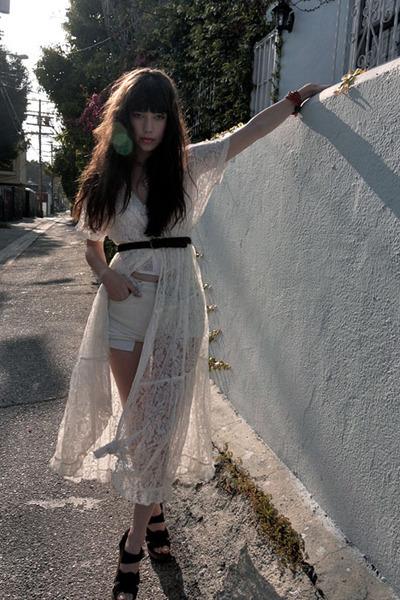 cream vintage dress - white DIY shorts - dark brown Chloe sandals - white vintag