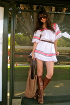 brown vintage boots - white Bennett Malibu dress - brown from Thailand purse