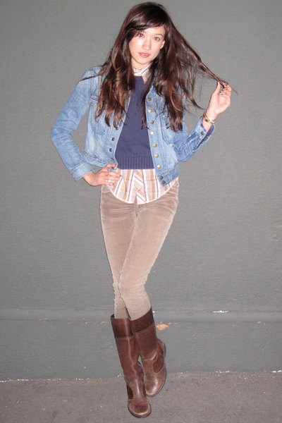 brown Levis blouse - blue IZOD sweater - blue Current Elliot jacket - brown curr
