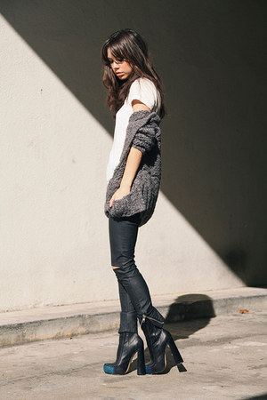 heather gray Chaser sweater - black Alexander Wang boots - white FOM shirt