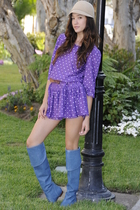 purple polka dot vintage dress - blue over the knee Chloe boots