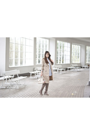 white zaful dress - tan Mohito coat
