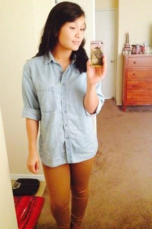 light blue denim oversized thrift shirt - bronze H&M pants