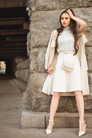 lime green Zara bag - white asos skirt