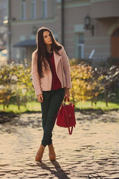 light pink biker wool Stradivarius coat - ruby red cable knit Zara sweater