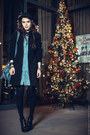 Black-topshop-boots-light-blue-shirt-vj-style-dress-black-stradivarius-coat