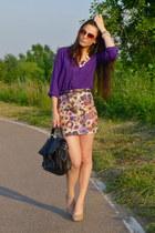 deep purple purple Bershka shirt - Zara skirt - nude nude BSBGeneration heels