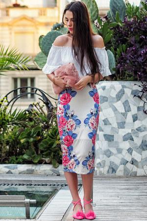hot pink pom-pom asos heels - white off-shoulder brandy melville top
