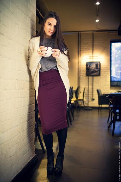 black Topshop boots - white Oasis cardigan - crimson Topshop skirt