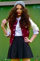 crimson varsity H&M jacket - gray beanie H&M hat - black Topshop skirt