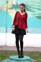 black Topshop skirt - black VJ-style boots - maroon Zara sweater