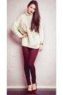 Crimson-topshop-jeans-white-zara-sweater-crimson-stradivarius-heels