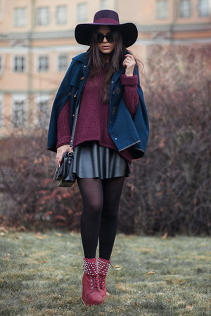 maroon H&M hat - black brandy melville skirt - crimson Jeffrey Campbell wedges