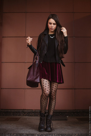 maroon Topshop skirt - black ASH boots - beige Burberry coat - crimson Zara bag