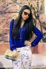 Yellow-h-m-bag-yellow-zara-heels-white-zara-pants-blue-zara-blouse