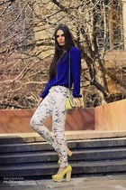 blue Zara blouse - yellow H&M bag - yellow Zara heels - white Zara pants
