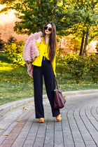 burnt orange lita Jeffrey Campbell boots - light pink faux fur H&M coat