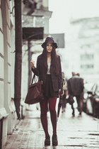 brick red striped Zara blazer - black creepers H&M shoes
