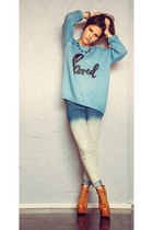sky blue Topshop sweater - mustard Jeffrey Campbell boots