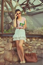 white Pimkie t-shirt - brown Prada bag - brown Topshop sunglasses