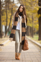 brown striped Zara scarf - olive green leigh Topshop jeans