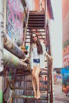 white boyfriend Zara blazer - Zara shirt - dip-dye Zara shorts