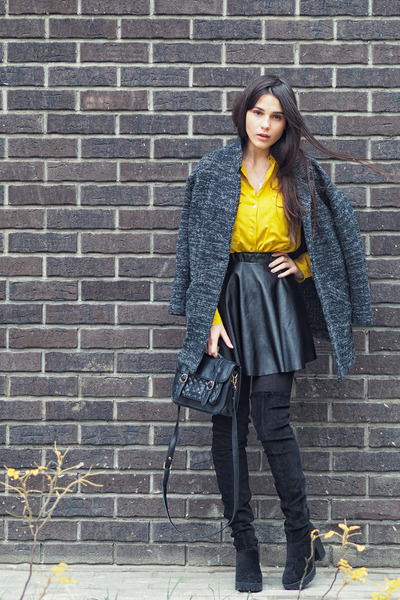 black over the knee H&M boots - light orange Zara shirt