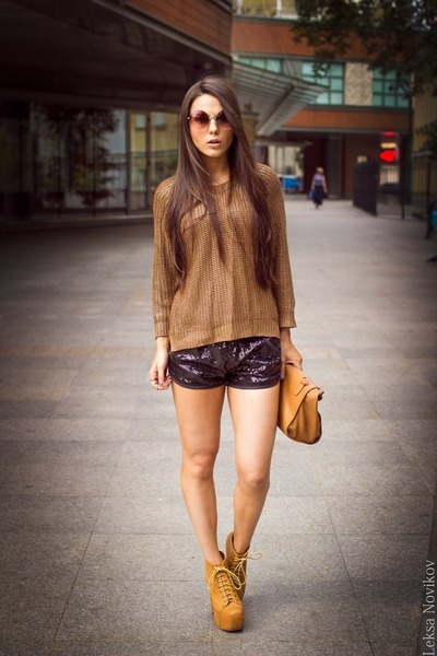 gold gold Zara sweater - bronze brown paper Zara bag