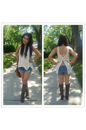 cream Forever 21 top - boots Fergie boots - denim shorts Ruehl shorts