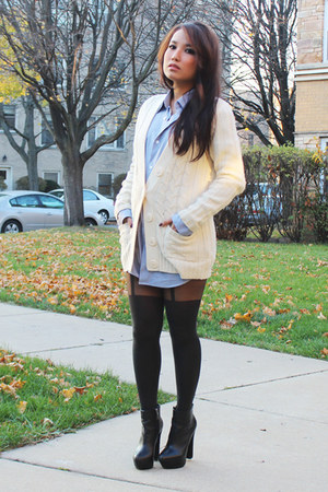 Forever 21 cardigan - Report boots - Walmart shirt - romwe tights - romwe purse