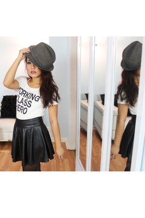 bloomingdales boots - fedora Thrift Store hat - Urban Outfitters shirt