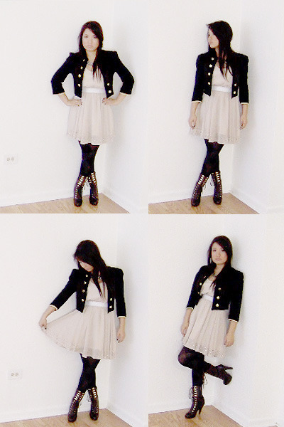 Sole Society boots - lucca couture Urban Outfitters dress - Forever 21 blazer