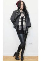 gray cape - black dress - crimson ombre beanie hat - black leggings