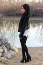 Black-jacket-white-shirt-black-tights-blue-shorts