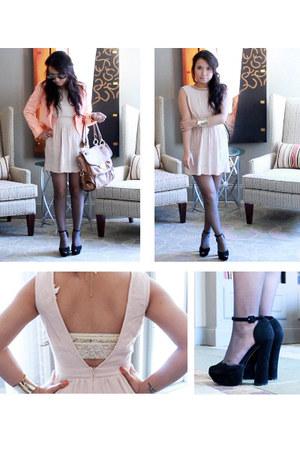 chloe shoemint pumps - nude color Urban Outfitters dress - H&M blazer