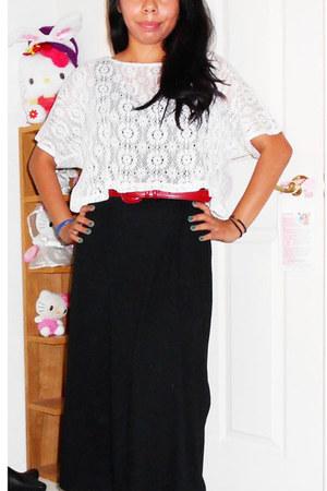 black Jones New York dress - white Tea n Rose top - brick red belt
