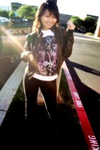Rue 21 jacket - obey t-shirt