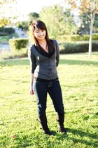 gray Forever 21 cardigan - dark gray DDs Discount boots - blue Ross jeans