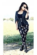 black PacSun boots - black cross leggings Fashion Q leggings