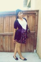 black Rue 21 skirt - black papaya cardigan - white Target t-shirt - purple papay