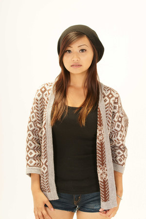 navy Levis shorts - dark brown Forever 21 cardigan - black top