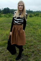 brown H&M skirt - black KappAhl sweater - black reserved bag