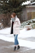 black sam edelman boots - light pink Zara coat - blue Gap jeans